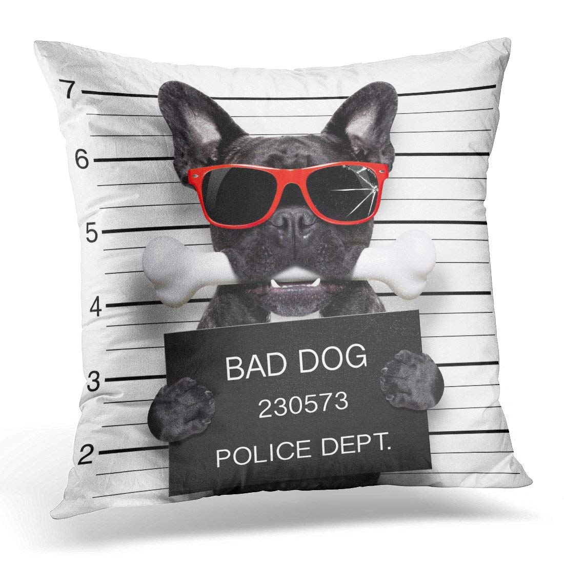 arhome funny cute french bulldog holding placard while mugshot is taken bone in mouth and guilty wearing red pillow cover 16x16 inches throw pillow