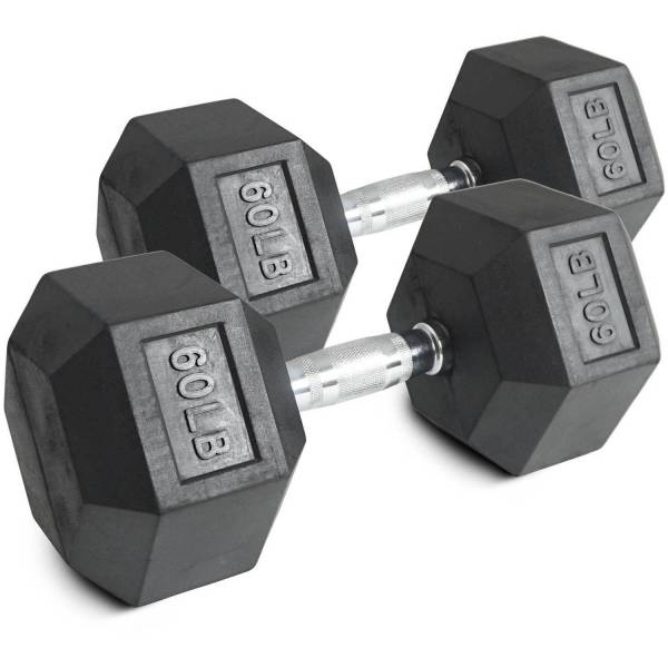 Pair Of 60 Lb Black Rubber Coated Hex Dumbbells Weight Training Set 120