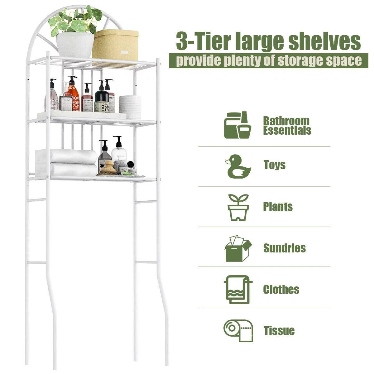 costway etagere pour toilette etagere wc meuble de rangement dessus wc salle de bains lave linge 3 tablettes etageres en metal blanc 59 x 37 x 173 cm