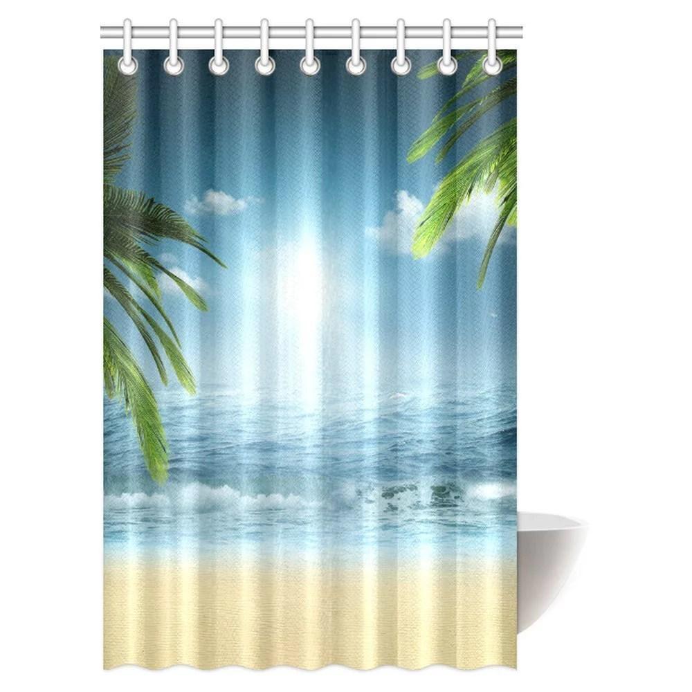 mypop ocean beach theme decorations shower curtain beach sunset ocean bathroom decor shower curtain set with hooks 48 x 72 inches walmart com