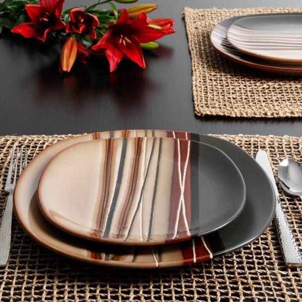 Homes And Gardens Bazaar Brown 16-piece Dinnerware Set 085081846525