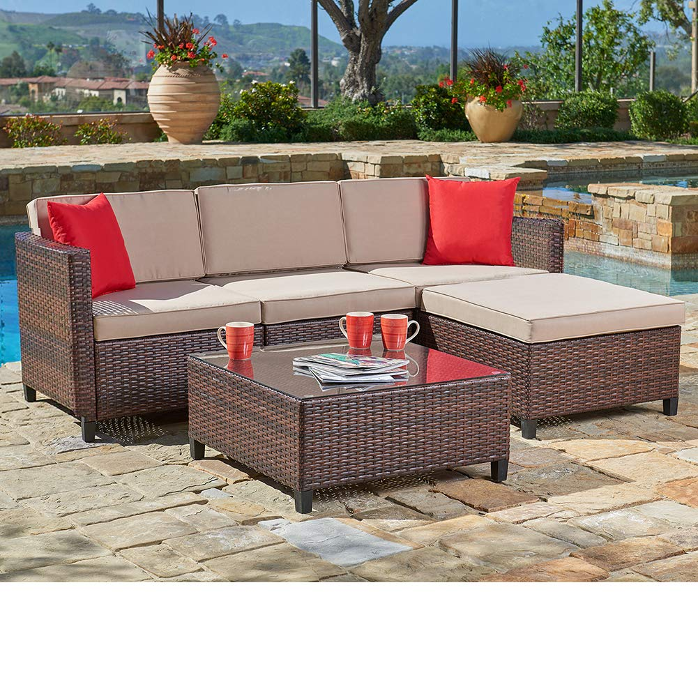 suncrown outdoor patio furniture brown wicker sofa sectional sets 5 piece set with brown seat cushions