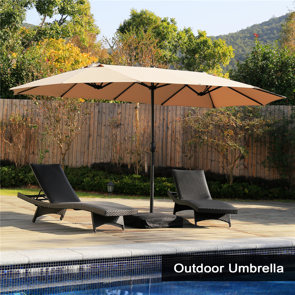 15 ft market outdoor umbrella double sided aluminum table patio umbrella with crank beige