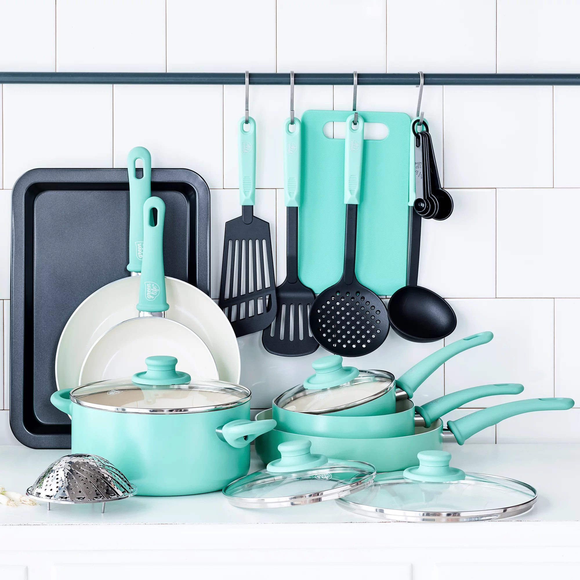 GreenLife 18-Piece Soft Grip Toxin-Free Healthy Ceramic Non-stick Cookware Set, Turquoise