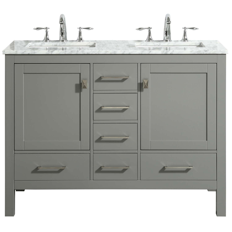 eviva aberdeen 48 transitional gray bathroom vanity with white carrara countertop walmart com