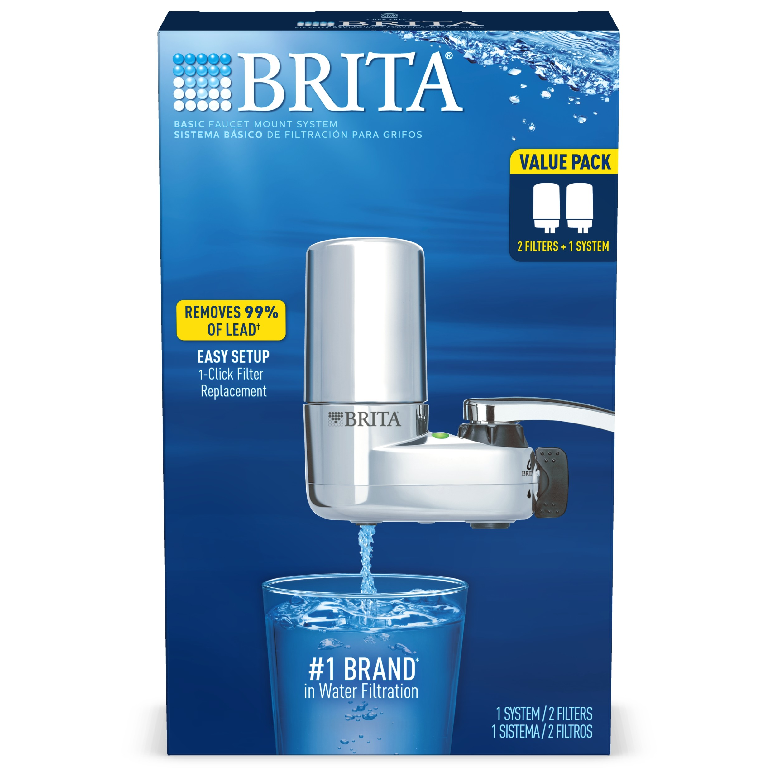 brita complete tap water faucet filtration system value pack chrome