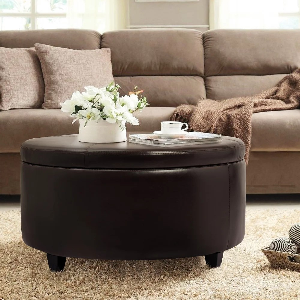 walnew large round storage ottoman comfort footrest brown faux leather walmart com