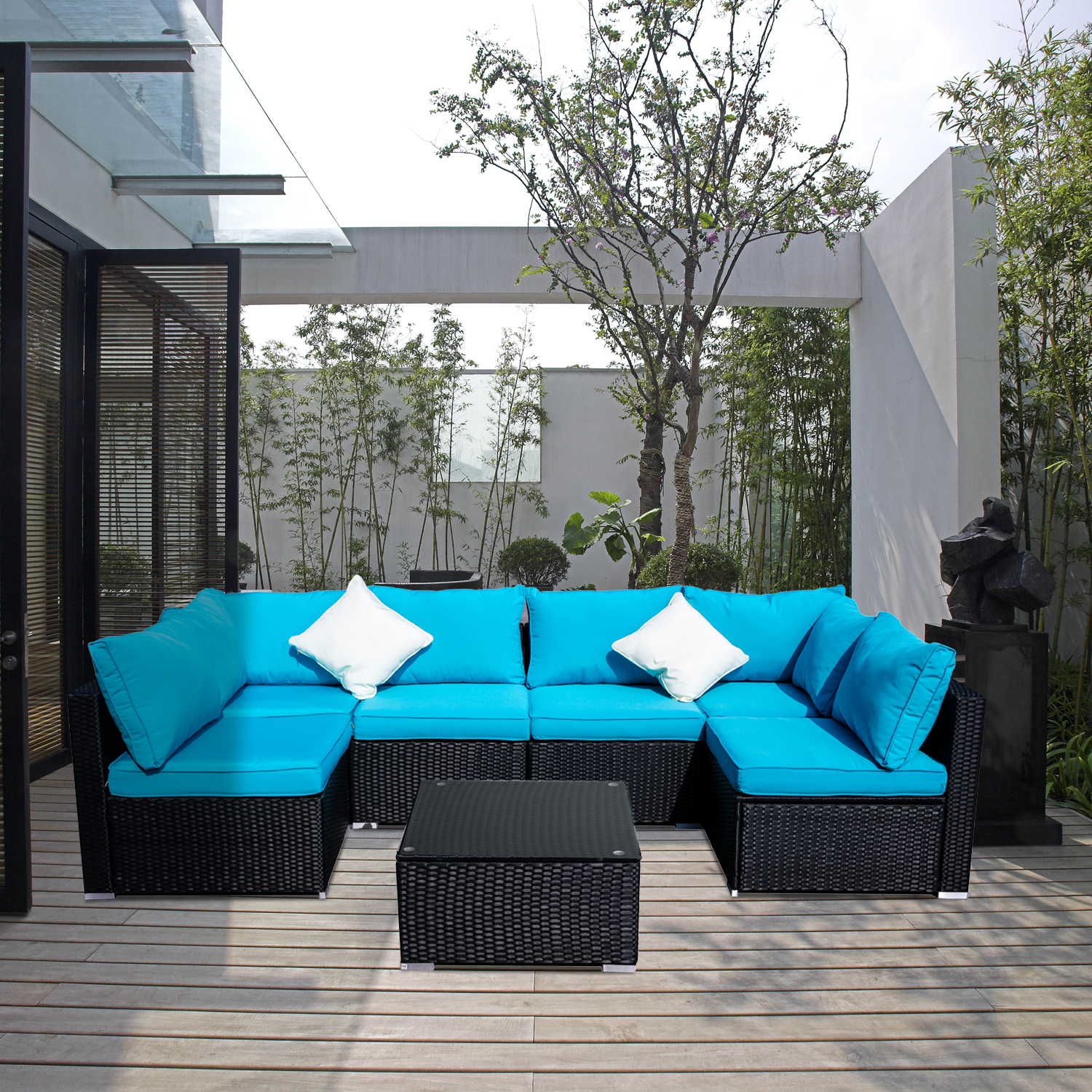 ainfox outdoor patio furniture on clearance 7 pieces pe rattan wicker sectional sofa sets with blue pillows cushions white pillows