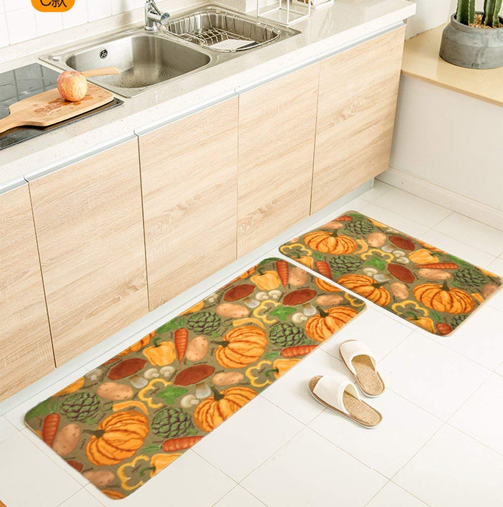 memory foam kitchen rug ikea islands jufucai pumpkin vegetables design soft elasticity sets coral fleece mat for
