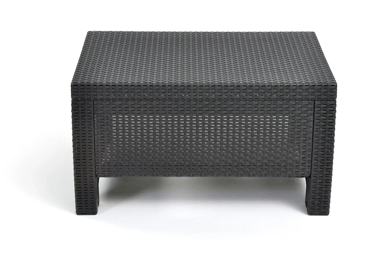 keter corfu resin coffee table all weather plastic patio furniture charcoal gray rattan