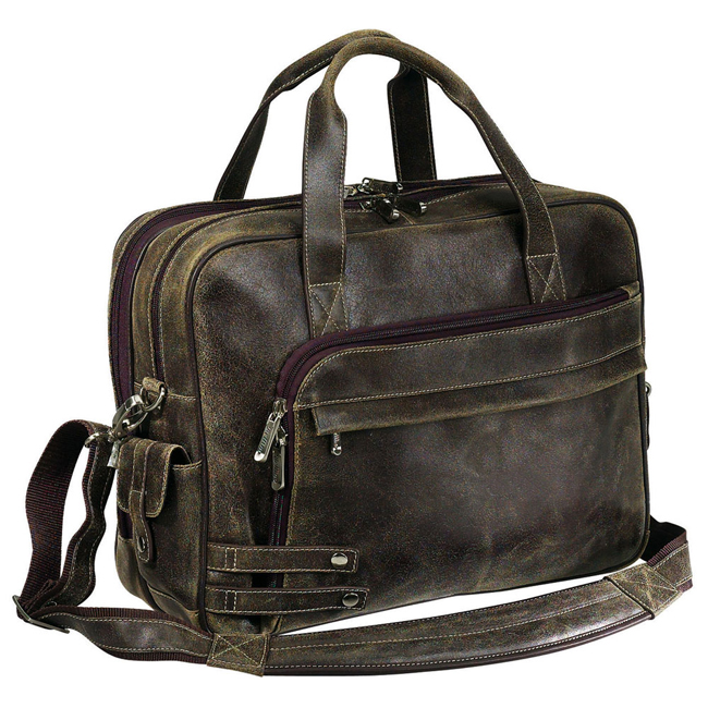 the jones collection distressed leather laptop briefcase brown