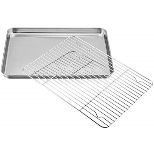 mokpi baking sheet and rack set half sheet pan cookie sheet set with stainless steel oven safe cooling rack 16x12x1 inch 16a a x12