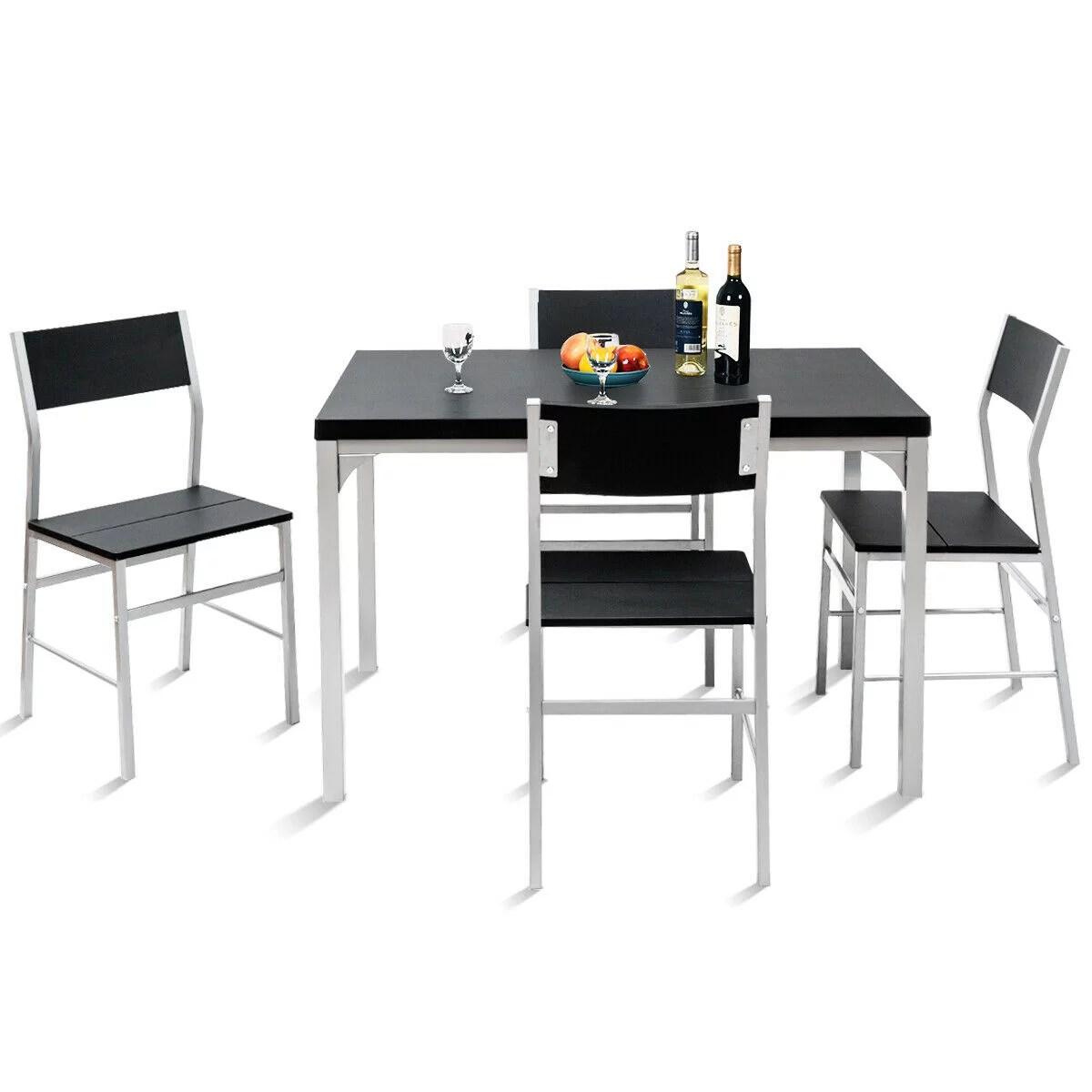 Costway 5 Piece Dining Table Chairs Set Wood Metal Kitchen Breakfast Furniture Black Walmart Com Walmart Com