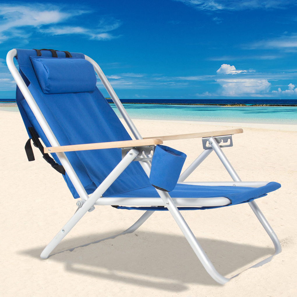 Beach Chairs On Sale Joyfeel Hot Sale 2019 Portable High Strength Beach Chair With Adjustable Headrest Blue Foldable Backpack Beach Chairs Patio Chair With Cup