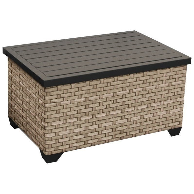tkc monterey outdoor wicker storage coffee table in summer fog