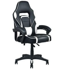 Recliner Gaming Chair Gym Accessories Costway Executive Racing Style Pu Leather High Back Office White Walmart Com
