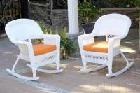 2-Piece Ariel White Resin Wicker Patio Rocker Chairs ...