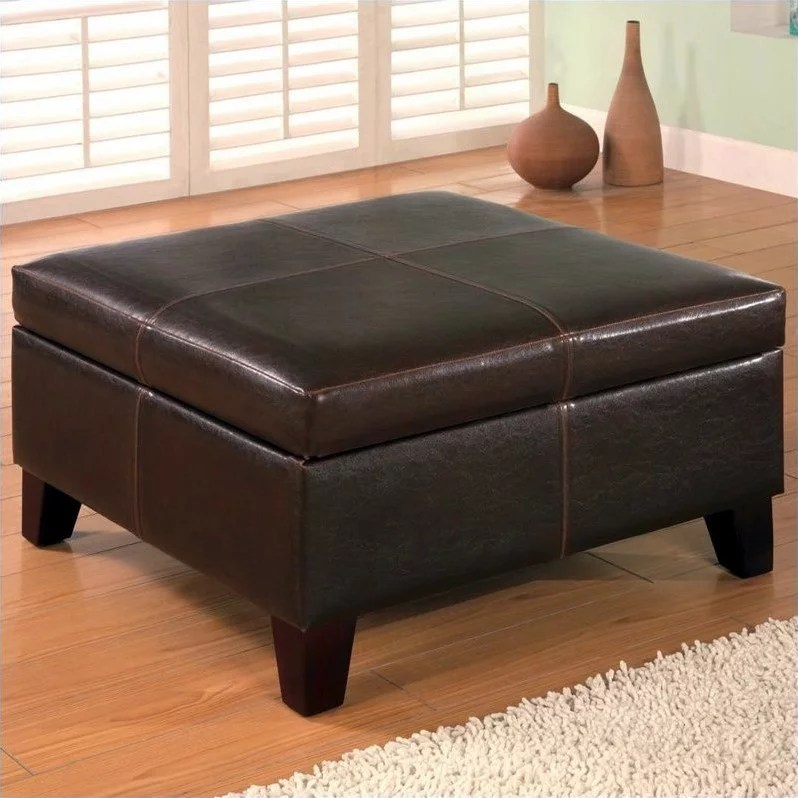 coaster faux leather square coffee table ottoman in dark brown