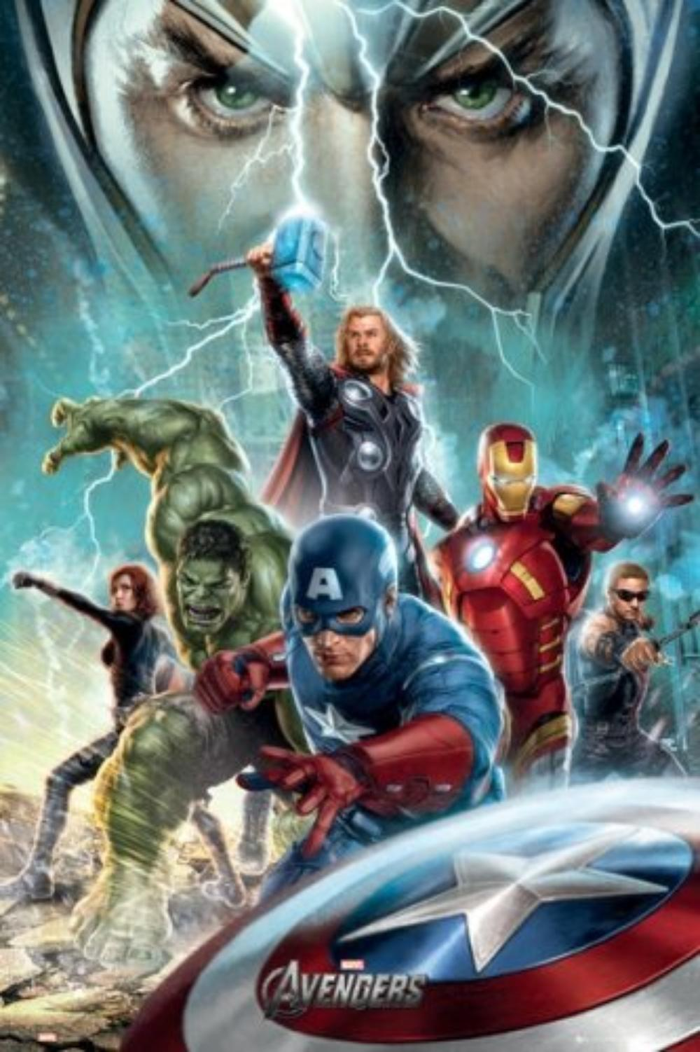 1 x the avengers movie poster power iron man captain america thor hulk hawk black widow loki size 24 x 36 by poster stop online usa