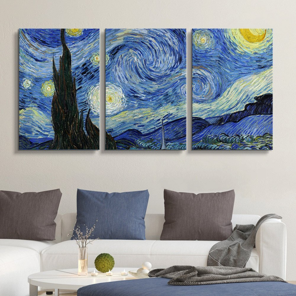 Wall26 3 Panel Canvas Wall Art Starry Night By Vincent