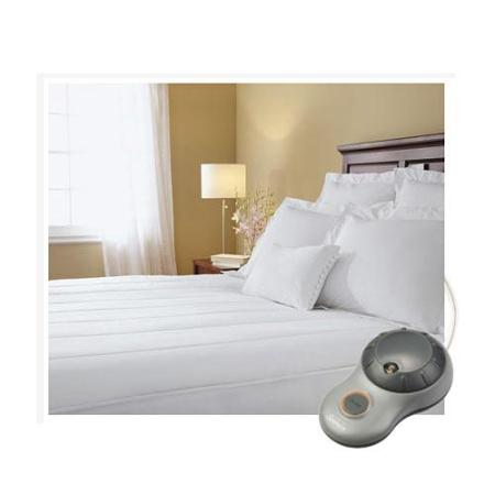 Sunbeam Quilted Striped Heated Electric Mattress Pad Twin Full Queen King C