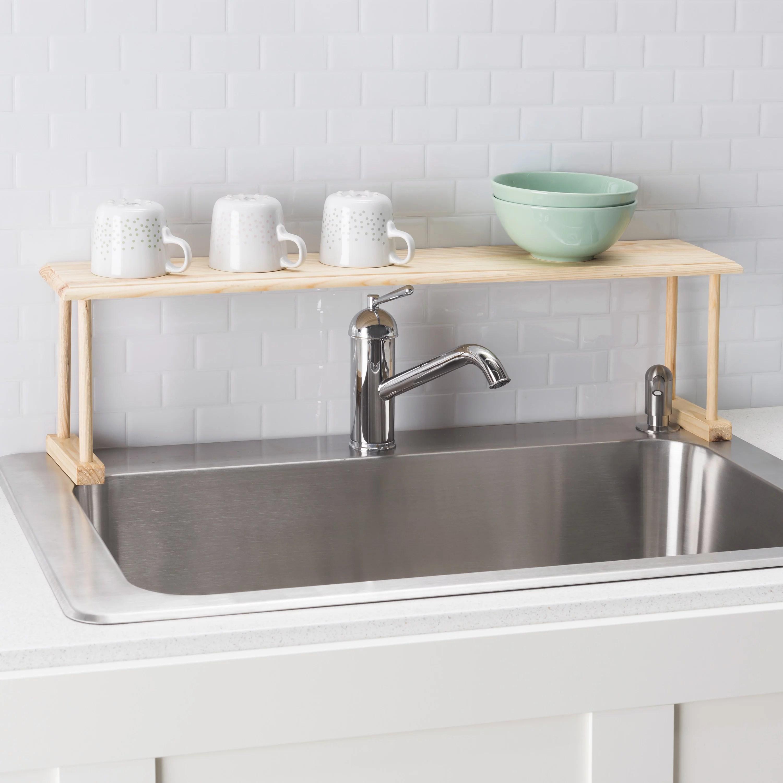 space saving oak wood over the sink multi use shelf