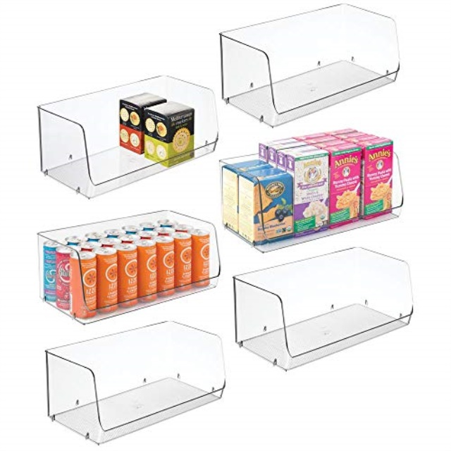Mdesign Extra Large Household Stackable Plastic Food Storage Organizer Bin Basket With Wide Open Front For Kitchen Cabinets Pantry Offices Closets Bedrooms Bathrooms 15 Wide 6 Pack Clear Walmart Com Walmart Com