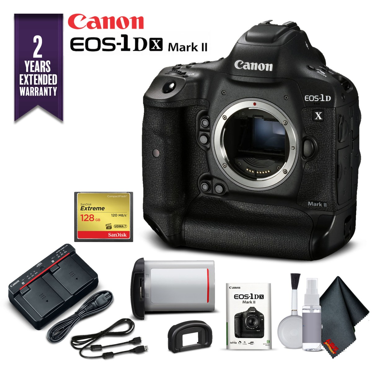 Canon EOS-1DX Mark II DSLR Camera (Body Only) With 2 Year Extended Warranty (Intl Model) - Starter Kit