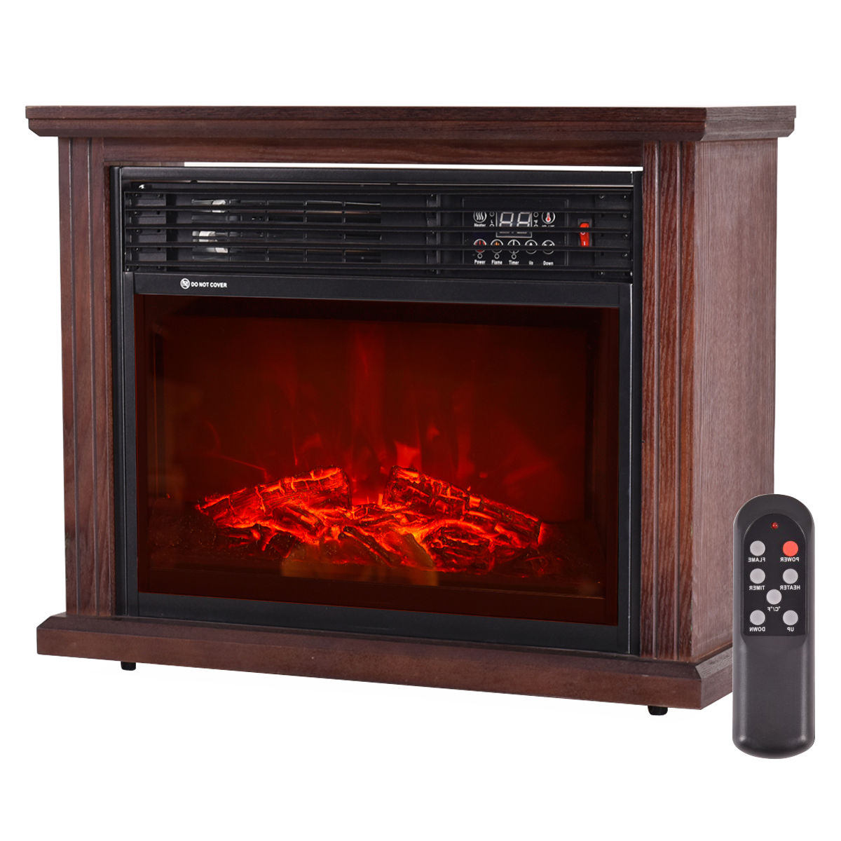 Ghp 3d Patented Flame Technology Free Standing Black Glass
