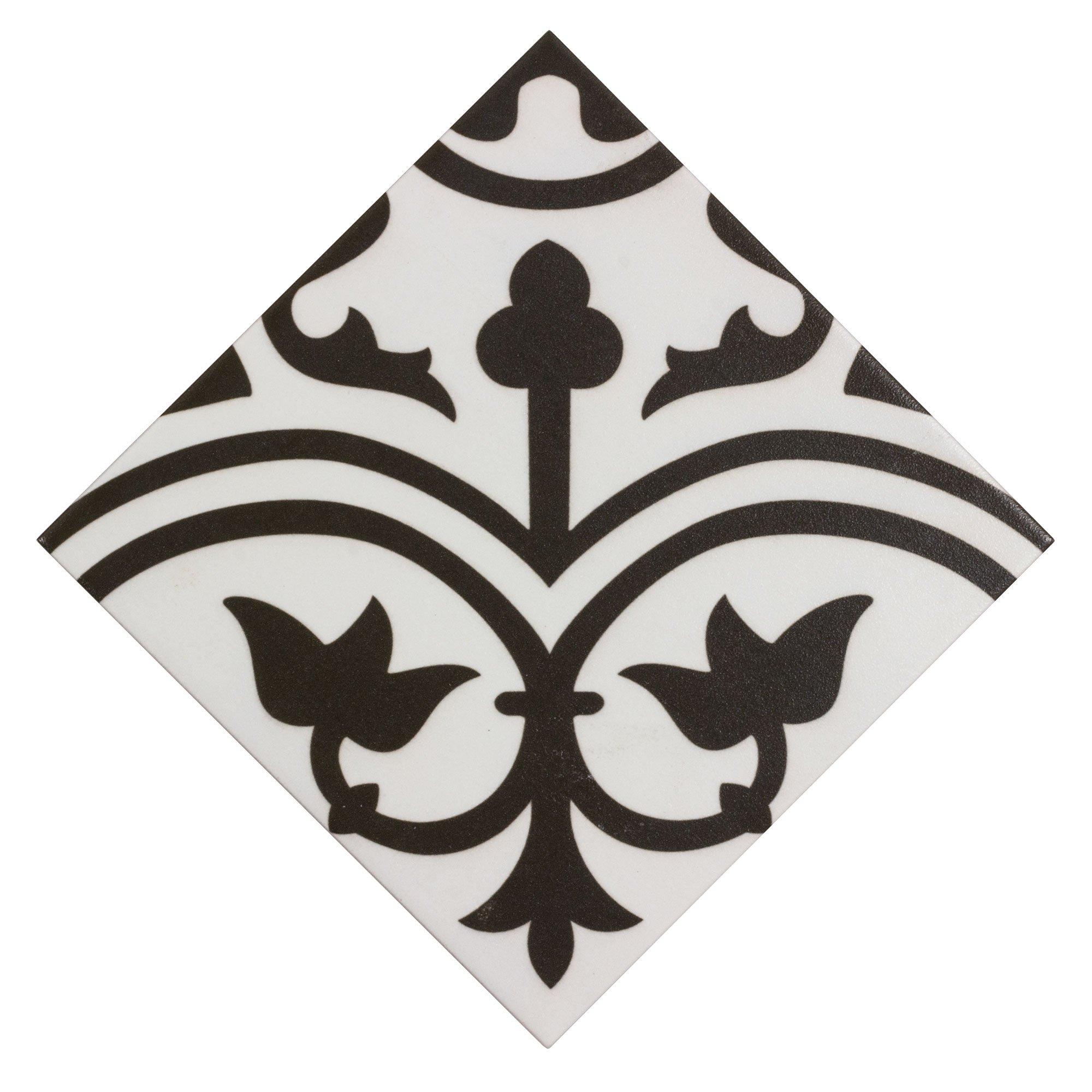 mto0473 classic 8x8 deco black white arabesque pattern spanish ceramic mosaic tile walmart com