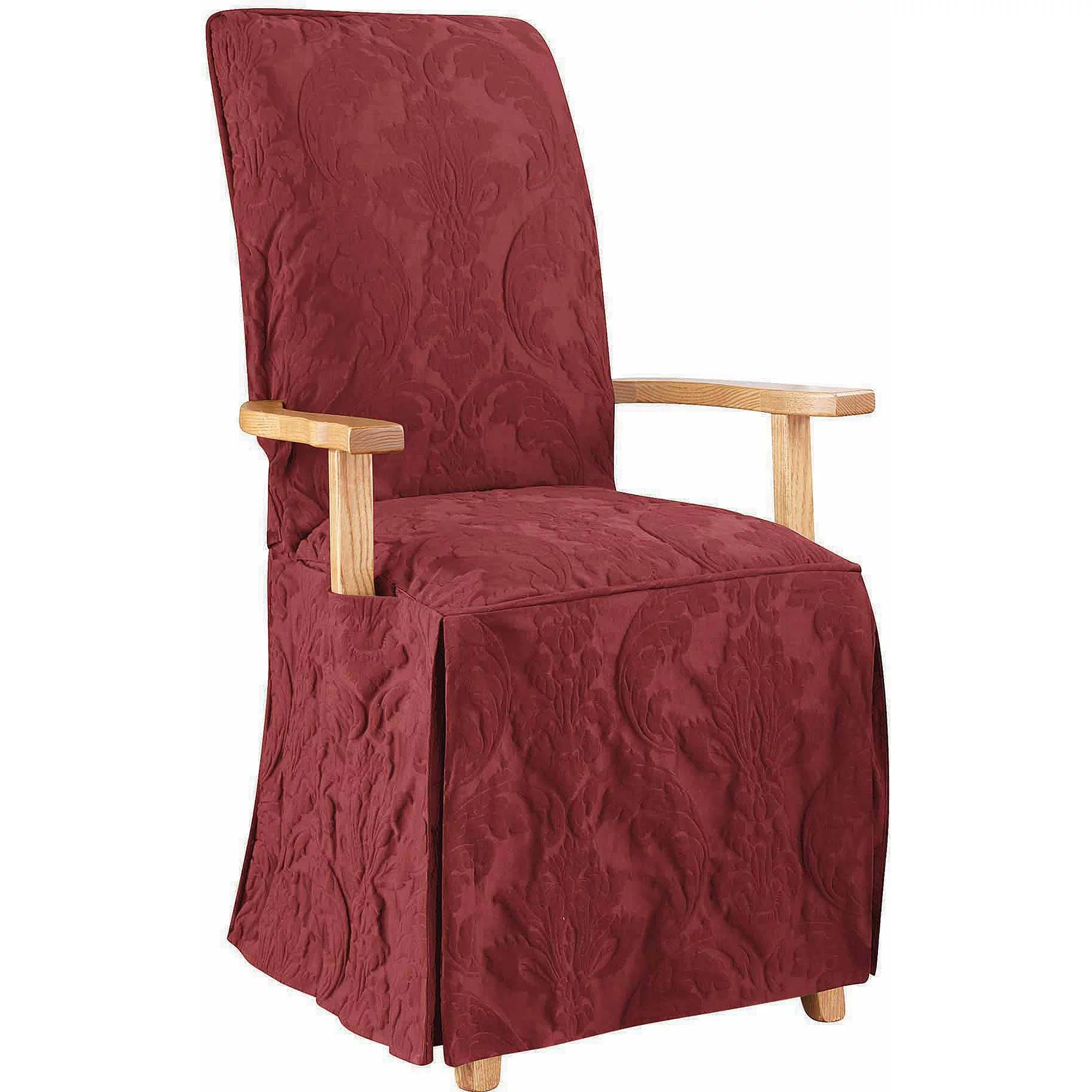 Surefit Chair Covers Sure Fit Matelasse Damask Arm Long Dining Chair Slipcover