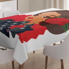 Dining Chair Covers In Spanish Rollator Transport Walgreens Tablecloth Chibi Character Flamenco Costume With Rose Flower On Her Hair Girl Cute Cartoon Rectangular Table Cover For Room Kitchen