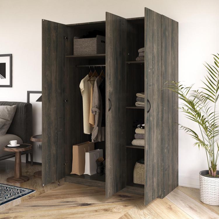 Realrooms Hax 3 Door Wardrobe Closet Clothing Storage Organizer Weathered Oak Walmart Com Walmart Com