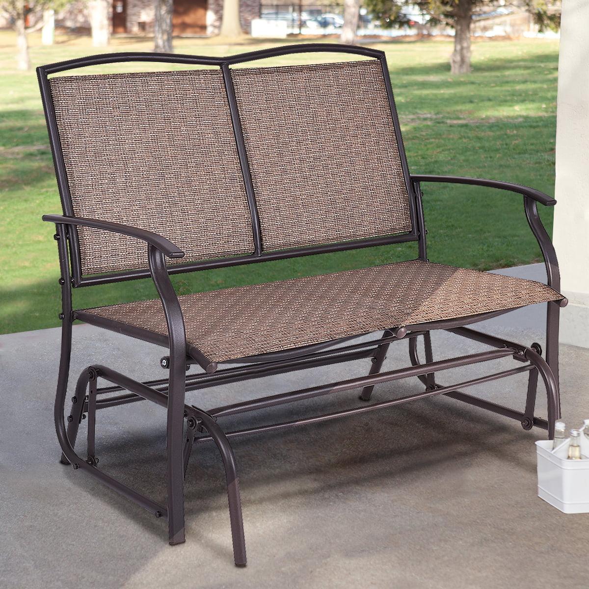 costway patio glider rocking bench double 2 person chair loveseat armchair backyard walmart com