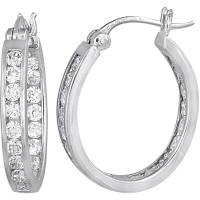 CZ Sterling Silver Hoop Earrings