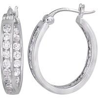 CZ Sterling Silver Hoop Earrings - Walmart.com
