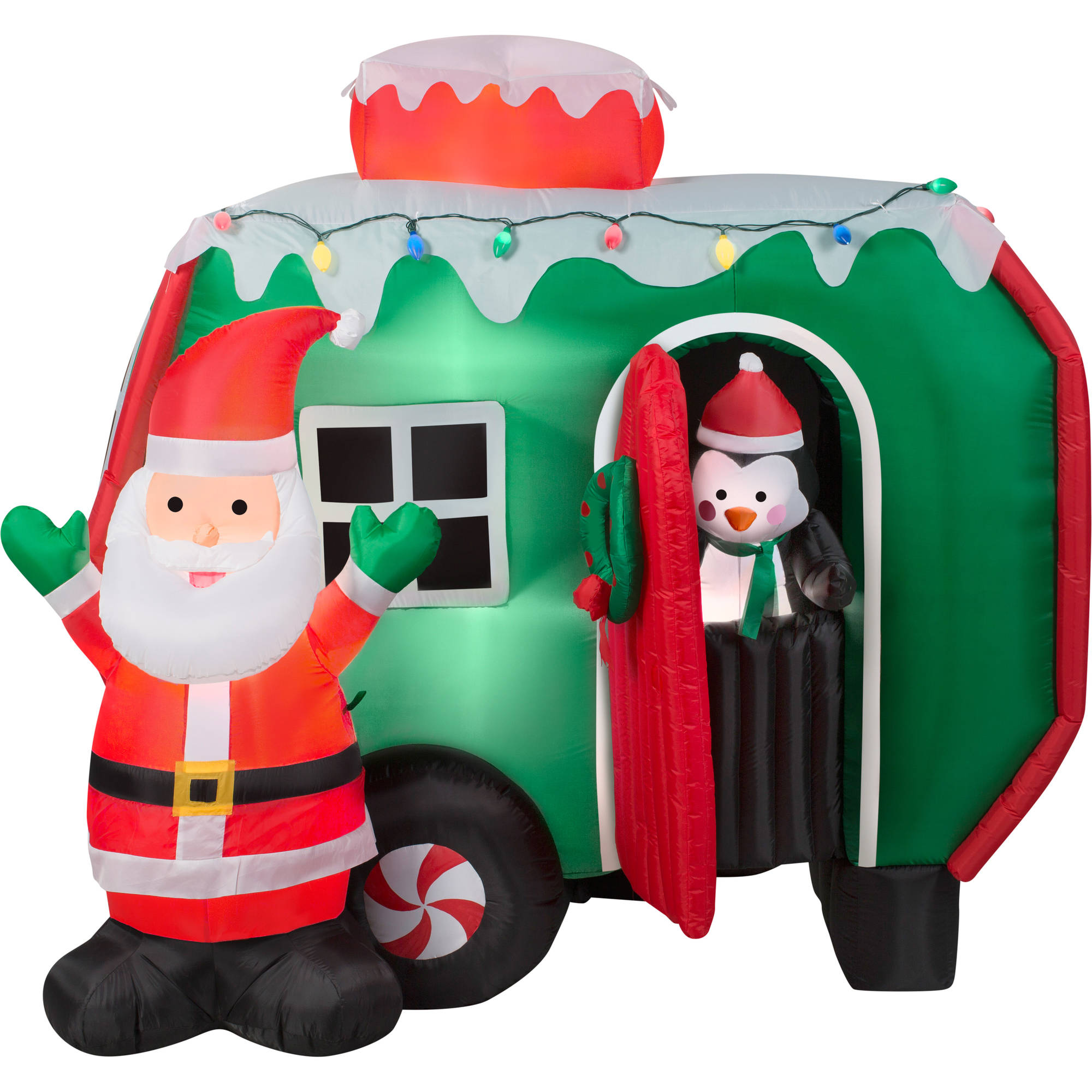 6 Animated Airblown Inflatable Santa And Pop Out Penguin
