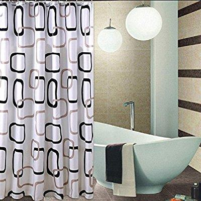 welwo shower curtains square circles rings shower curtain 78 x 88 inches black and white gray grey bathroom shower bath curtains