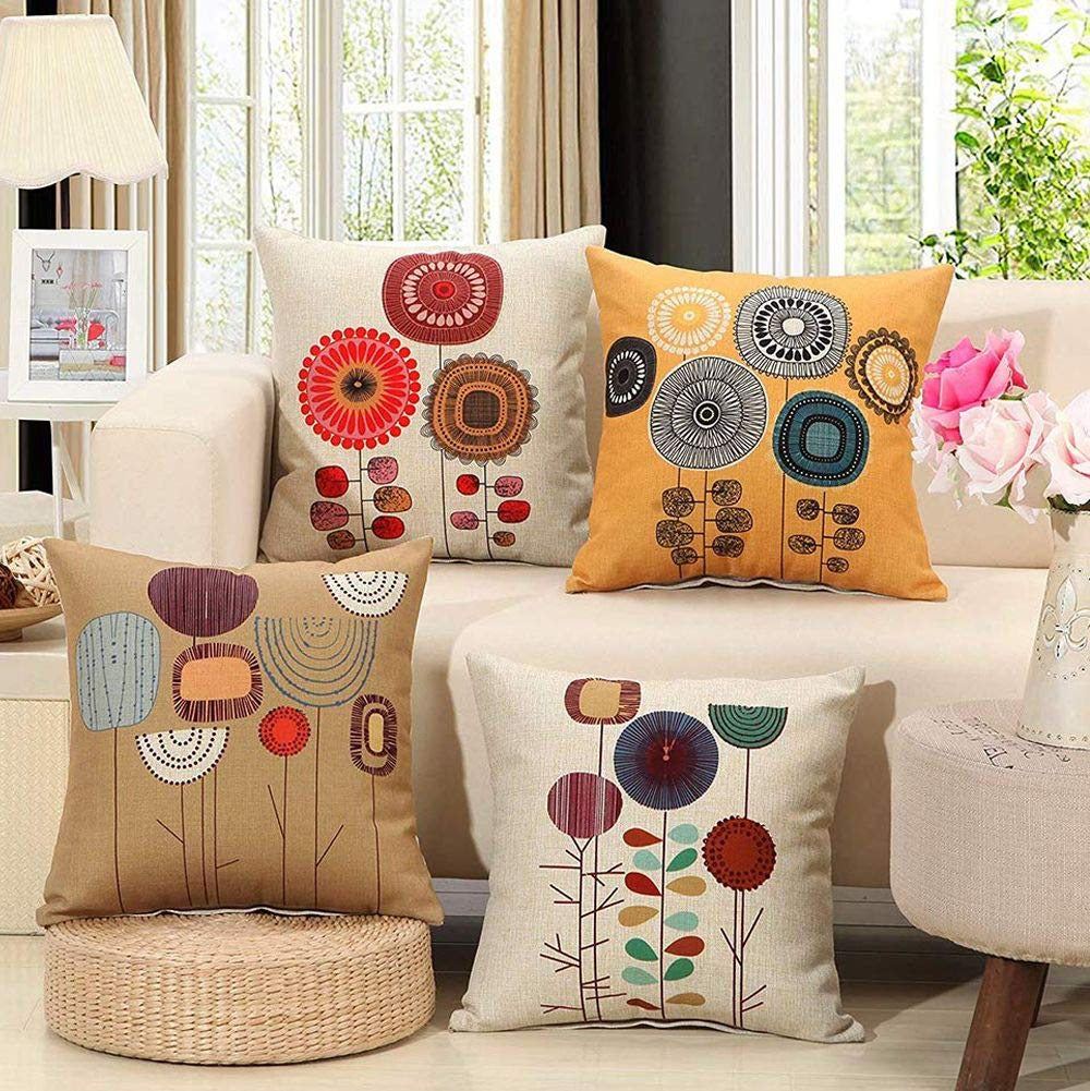 wendana cartoon flowers pattern spring pillow cushion covers set of 4 decorative throw pillows cover case for sofa couch 18x18 inches walmart com