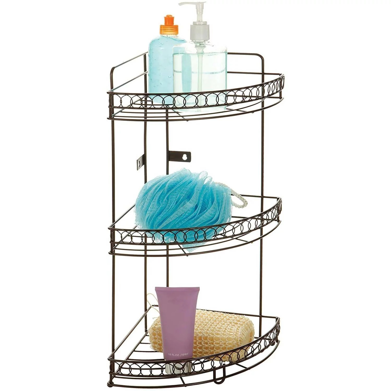 Bath Bliss 3Tier Corner Bath Shelf Bronze Curls