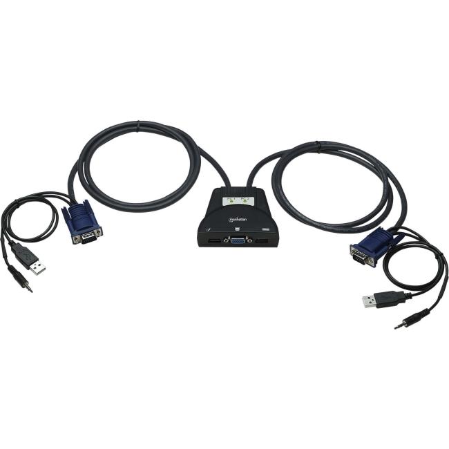 Manhattan 2-Port USB Mini KVM Switch with Audio Support