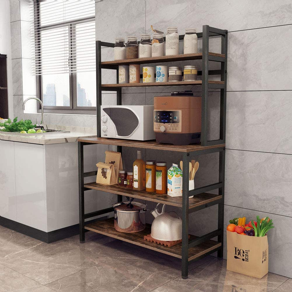 tribesigns 5 tier kitchen bakers rack with hutch industrial microwave oven stand free standing kitchen utility cart storage shelf organizer rustic