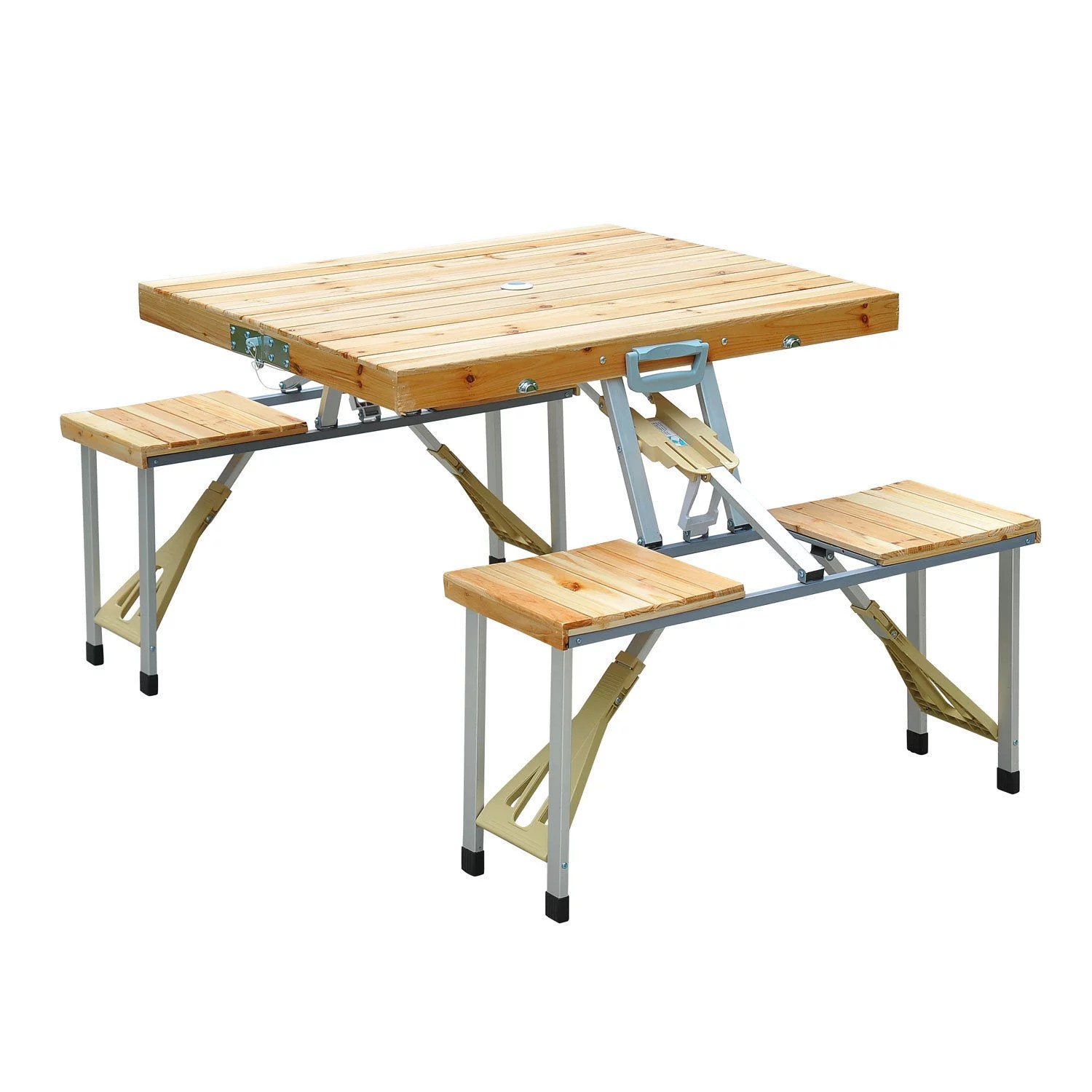 outsunny portable foldable camping picnic table with seats chairs and umbrella hole 4 person fold up travel picnic table wood