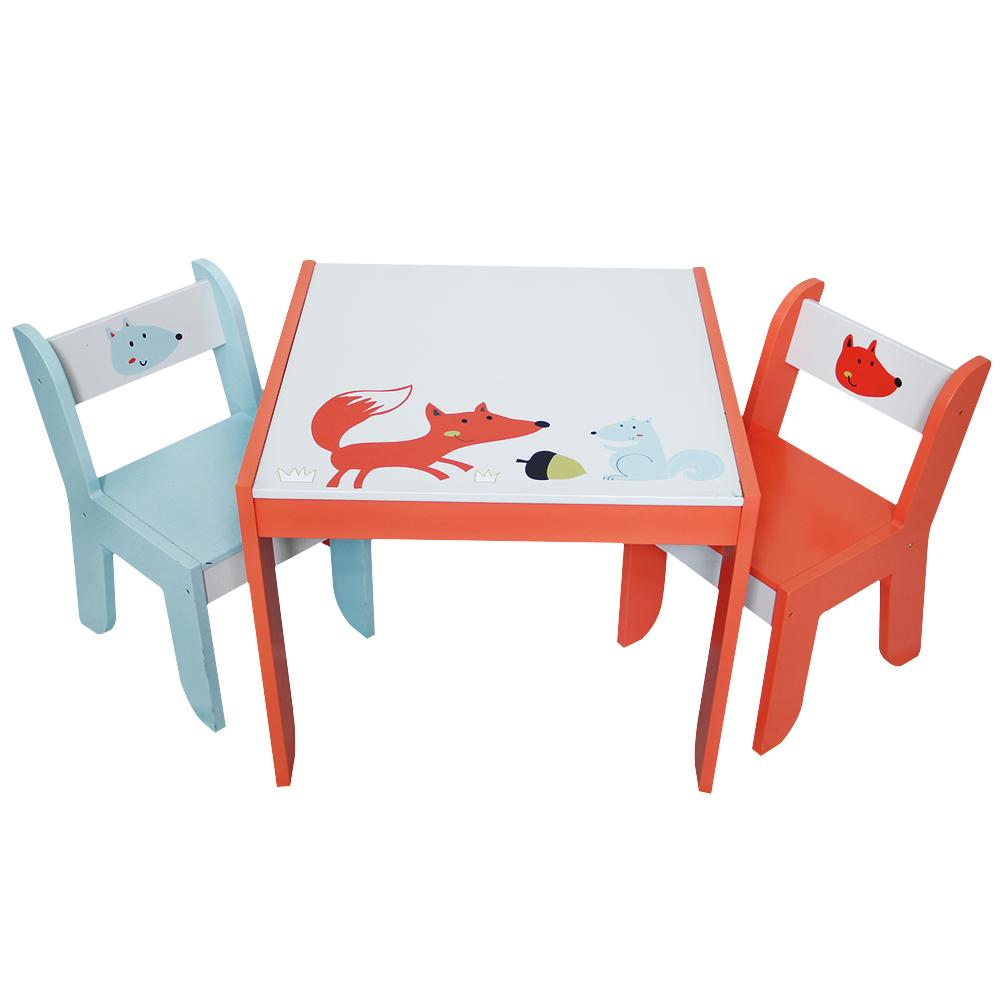 toddler table chairs wood chair and labebe wooden activity set fox printed white for 1 5 years child furniture baby girl boy learning kid