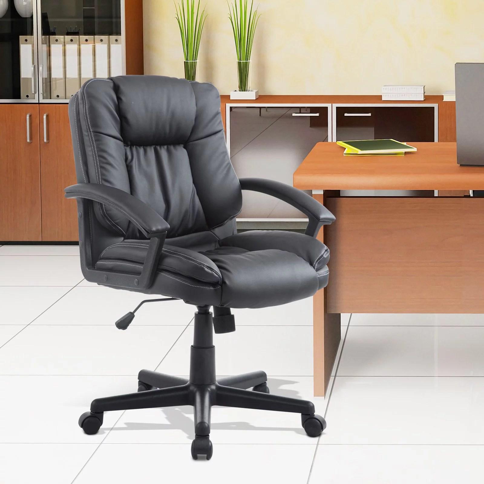 leather executive office chair chromcraft parts homcom mid back faux desk walmart com