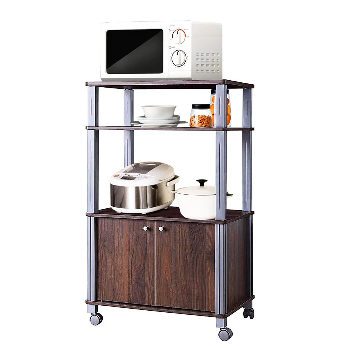 gymax bakers rack microwave stand rolling storage cart multi functional display walnut