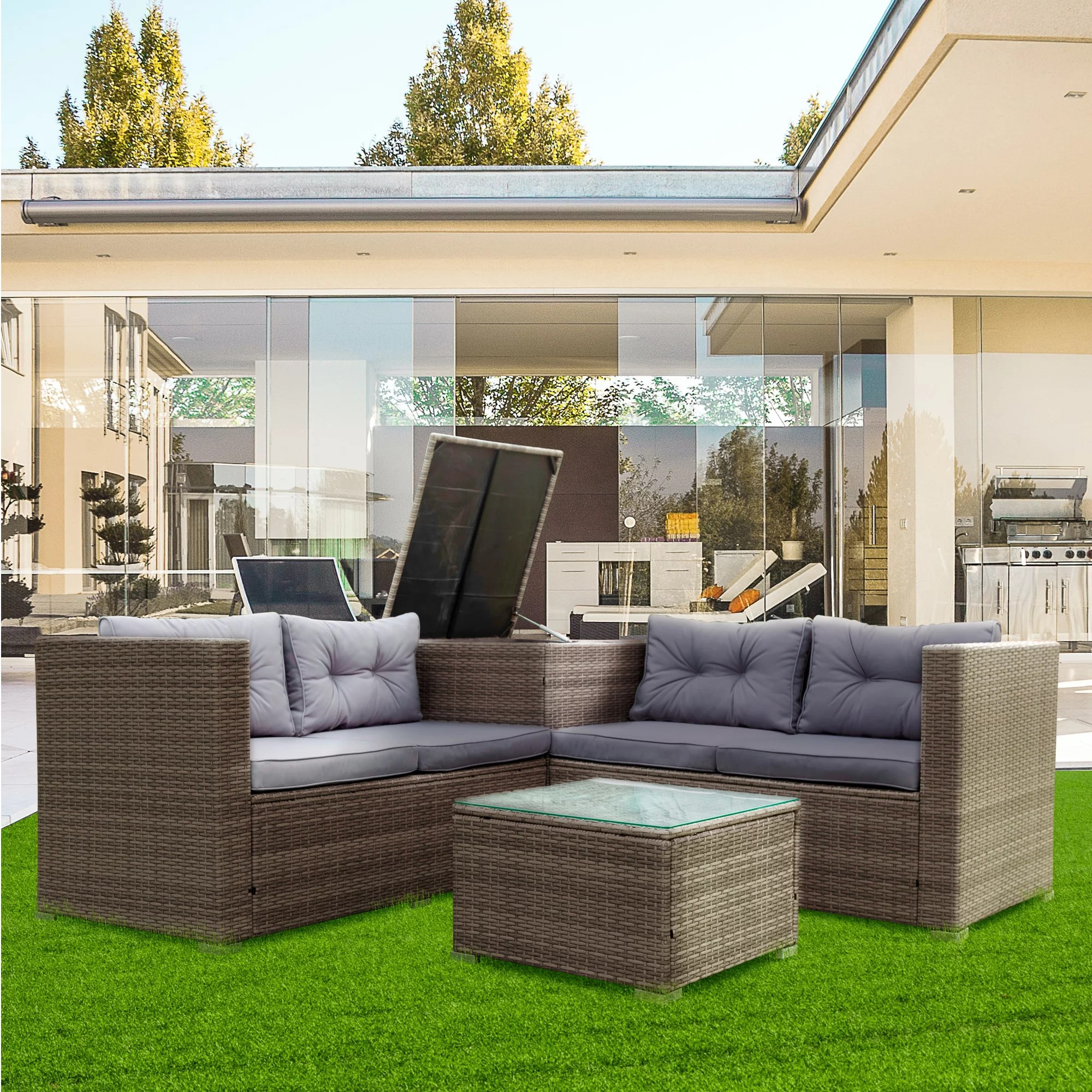 4 piece wicker brown patio sectional sofa set with storage ottoman all weather outdoor conversation set dining set with cushions and table for