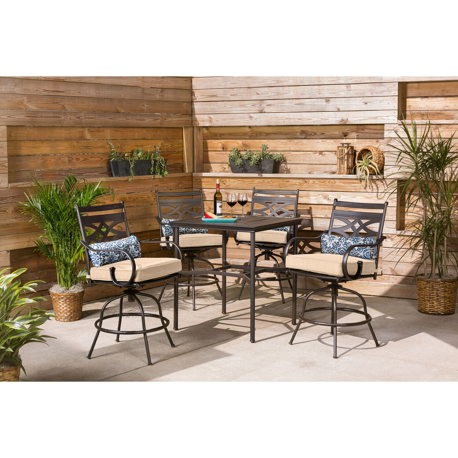 hanover montclair 5 piece high dining patio set in country cork with 4 swivel chairs and a 33 in counter height dining table walmart com