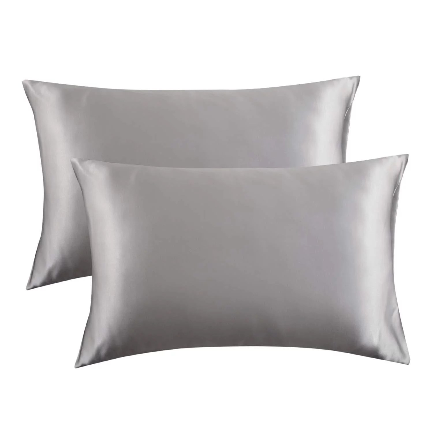 bedsure satin pillowcase for hair and skin 2 pack standard size 20x26 inches pillow cases satin pillow covers with envelope closure silver