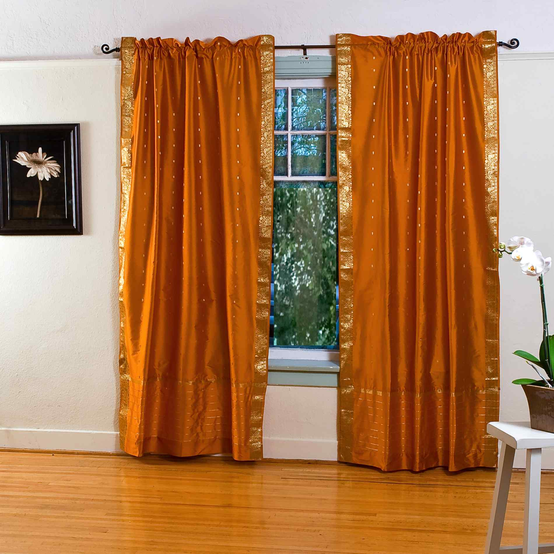 mustard yellow rod pocket sheer sari curtain drape panel piece